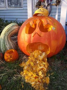 """Oops, I Burped"" a 100 pound pumpkin carving by Betty S., Bloomfield, MO"
