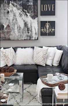 Living Room Decor Black Leather sofa