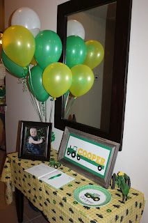 John Deere themed birthday party! I think I could cross stitch that John Deere tractor!