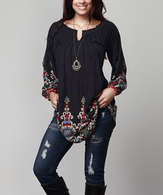 Another great find on #zulily! Navy Medallion Notch Neck Tunic - Plus #zulilyfinds
