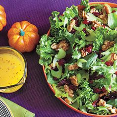Green Salad with Celery, Walnuts and Cranberries - great for autumn when we have apple cider in the fridge