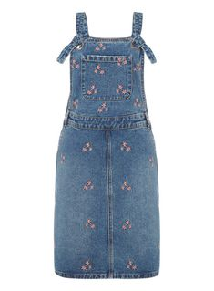 SKU EMBROIDERED PINAFORE SS18:Mid Denim