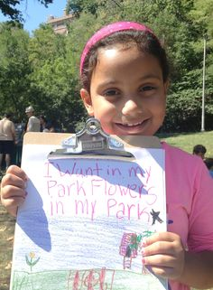 ioby is proud to support the @Whole Foods Market NYC Kids Day of Service, in partnership with Partnerships for Parks and @Morningside Park. Thanks to all the kids and parents of NYC who came out to volunteer in @Morningside Park and reimagine their neighborhoods stronger and more sustainable. Check out some of the youngest of ioby's neighborhood civic leaders. Jaime would like more flowers in her park...and a treehouse.