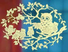Laser cut owl family in tree Paper Owls, Paper Art, Paper Crafts, Scroll Saw Patterns, Wood Patterns, Quilling, Owl Family, Butterfly Painting, Kirigami