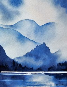 Artist painted entirely in different values of blue. Watercolor Landscape Paintings, Nature Paintings, Abstract Watercolor, Watercolor Illustration, Abstract Landscape, Easy Watercolor, Watercolor Sketch, Monochromatic Paintings, Monochrome Painting