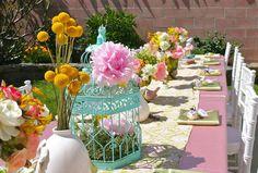 Centros de mesa con jaulas de ave