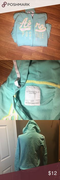 Mint green Aero Hoodie In great condition has two small red stains as shown in last picture. Could come out.  No pilling or other staining. Reflected in price Aeropostale Tops Sweatshirts & Hoodies