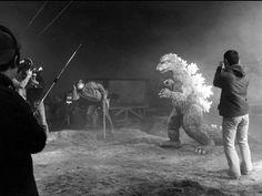 Godzilla on set.