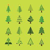 Illustration of Abstract green Christmas tree icons set vector art, clipart and stock vectors.