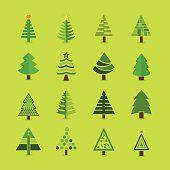 Abstract green Christmas tree icons set
