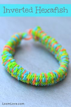 If you are looking for a Rainbow Loom bracelet design to challenge you, make the Inverted Hexafish by Justin's Toys. It is an awesome design that looks great with tie dye bands.