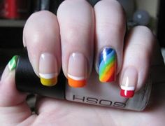 I don't like the rainbow nail, really, but it's  a cute idea and can be used with another design I bet.