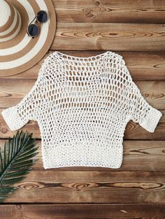 $21.99 Hollow Out Crochet Cover Up - WHITE ONE SIZE