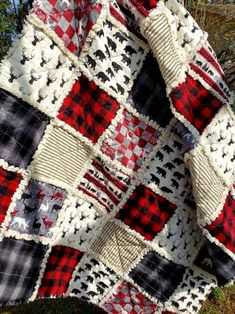 Flannel Rag Quilts, Baby Rag Quilts, Plaid Quilt, Patchwork Quilting, Scrappy Quilts, Christmas Rag Quilts, Christmas Christmas, Simple Christmas, Quilting Projects