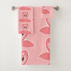 Flamingos Love Pattern Pink Towel Set