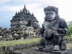 Chandi Plaosan Temple Guardian - Prambanan - One of the giant guardians (Dwarapala) guarding the front of Candi Plaosan, a ninth century Buddhist temple in Klaten, Central Java