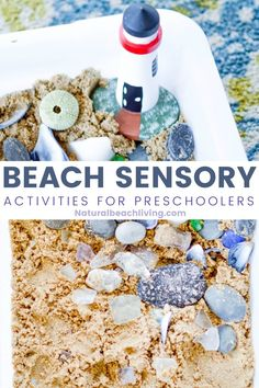 This Beach Sensory Bin is so much fun! The kids will love the fact they can have a little bit of messy play and creativity, too! Add Ocean Sensory Activities for Toddlers and Preschoolers to your themed learning or summer activities. Sensory Activities For Preschoolers, Ocean Activities, Summer Activities For Kids, Hands On Activities, Preschool Activities, Under The Sea Crafts, Under The Sea Theme, Sensory Bins, Sensory Table
