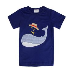Sale 20% (5.99$) - 2015 New Lovely Dolphin Baby Children Boy Pure Cotton Short Sleeve T-shirt Top