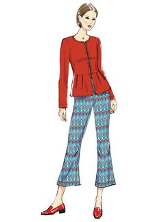 Vogue Patterns V9214: Collarless jacket (close-fitting through the bust) has exposed front zipper, pleated peplum and narrow hem. Pants (loose-fitting through hips) have elasticized waistband, knee pleats and stitched hem.