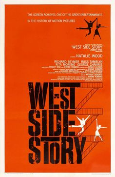 This poster design by Saul Bass does a great job of getting the mood of West Side Story across. One of my favorite shows and show posters.