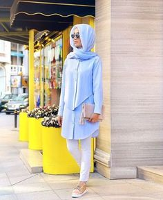 blue pastel morning hijab outfit