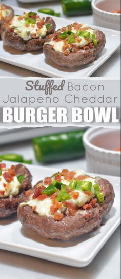Burger Bowls - a low carb way enjoy that juicy burger. A bunless burger stuffed with cream cheese bacon and cheese. You won't miss the bun! Jalapeno Cheddar, Jalapeno Recipes, Spicy Recipes, Low Carb Recipes, Beef Recipes, Low Carb Burger, Keto Burger, Burger Recipes, Jalapeno Burger