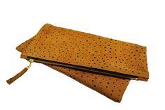 Oversized leather fold clutch in ostrich by MarketaNewYorkShop, $119.00 #LOVE