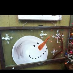 Snowman wooden window