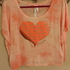Graphic Heart Tee Washed look in orange, large heart centers the soft top Tops Tees - Short Sleeve