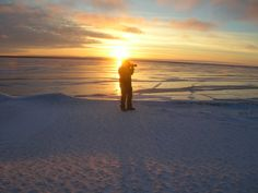 Pat Kane Photography taking images of Deline as the sun sets on Great Bear Lake