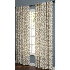 Shop allen + roth Oberlin 95-in L Geometric Straw Back Tab Window Curtain Panel at Lowes.com