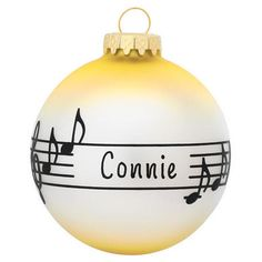 Personalized Music Staff Glass Ornament
