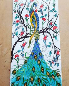 "408 Beğenme, 11 Yorum - Instagram'da kutahya cini sanayi (@kutahya_cini_sanayi): ""#çini #karo #porselen #seramik #desen #cennet #kuşu #tasarım #kutahyacinisanayi #serkankulaman"" Diy And Crafts, Arts And Crafts, Turquoise Art, Peacock Decor, Turkish Art, Arts Ed, Ceramic Design, Art Object, Tile Patterns"