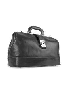 Chiarugi Black Genuine Italian Leather Doctor Bag