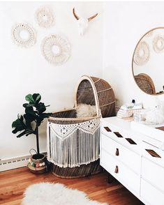 Boho Nursery With A Wicker Bassinet With Macrame Baby Bedroom, Baby Room Decor, Nursery Room, Nursery Decor, Bohemian Nursery, Tribal Nursery, Girl Nursery Themes, Baby Boy Nurseries, Nursery Ideas