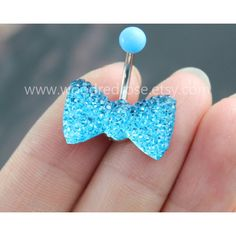 Aque Blue crystal bow belly ring,cute bow belly ring, Bow Belly Button... ($4.99) ❤ liked on Polyvore featuring jewelry, blue jewelry, crystal jewelry, bow jewelry, blue crystal jewelry and button jewelry