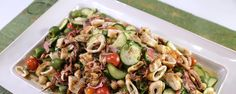 The Chew - Mario Batali - Grilled calamari, chickpeas, salami, and olive salad