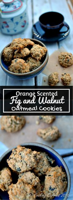 Orange Scented Fig and Walnut Oatmeal Cookies Delicious, warm, straight out of the oven Orange scented Fig and Walnut Oatmeal Cookies are exactly the kind that gives you some extra warm and fuzzies in this holiday season! www.cookingcurries.com