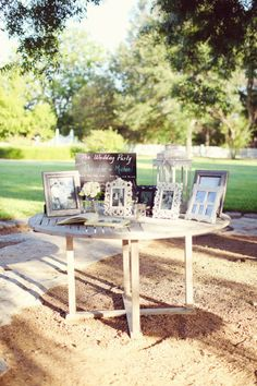 Guestbook table with family wedding photos