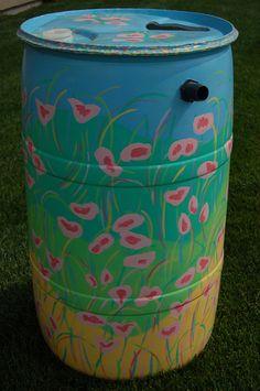 Painted rain barrel