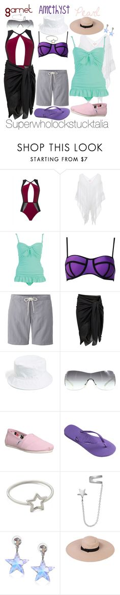 """""""Beach Crystal Gems"""" by king-archie ❤ liked on Polyvore featuring MOEVA, Lipsy, Uniqlo, H&M, Amici Accessories, Prada, TOMS, Havaianas, Aurélie Bidermann and Giani Bernini"""