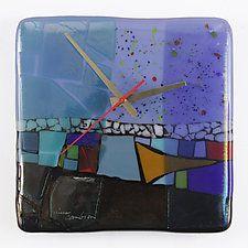 "At the Lake Art Glass Clock by Nina  Cambron (Art Glass Clock) (8"" x 8"")"