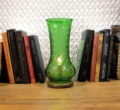 Hoosier Glass Vase Lamp  Upcycled Lamp Vintage Emerald by SoEco