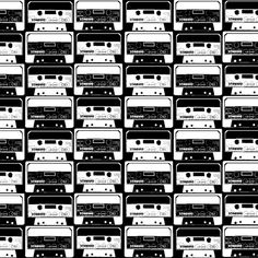 Cassettes black & white custom fabric by susiprint for sale on Spoonflower Paint Shop, Fabric Swatches, Textile Patterns, Custom Fabric, Spoonflower, Photo Art, Photo Editing, Photoshop, Black And White