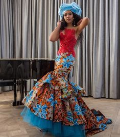 """S C A L O® on Instagram: """"Scalo by Sello medupe  Muse: @blue_mbombo  #sunmet ❤️💚💙❤️💚💙"""" African Wedding Dress, African Dress, Strapless Dress Formal, Formal Dresses, Wedding Dresses, African Traditional Wear, Shower Dresses, African Fabric, Muse"""