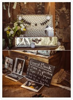 suitcase and chalkboard entry table decorations. with polaroid/instax photos for their wedding guest book.