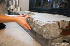 Fireplace surround makeover with AirStone. Airstone over brick. For fireplace in bedroom. Airstone Fireplace, Brick Fireplace Makeover, Fireplace Cover, Fireplace Hearth, Home Fireplace, Fireplace Remodel, Fireplace Surrounds, Fireplace Design, Fireplace Ideas