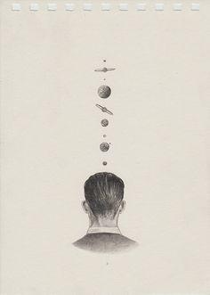 ilustracion hombre espalda planetas Juan Osorno is an illustrator, currently studying visual arts at Antioquia University.