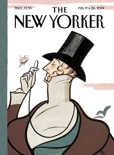 """The New Yorker - Monday, February 19, 2001 - Issue # 3925 - Vol. 77 - N° 1 - « The Anniversary Issue » - Cover """"Eustace Tilley"""" by Rea Irvin"""