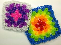 Granny Square Tutorial by feelinspiffy (HOOK ONLY) (Loom Bands) - http://www.knittingstory.eu/granny-square-tutorial-by-feelinspiffy-hook-only-loom-bands/